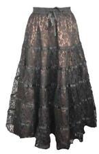 Dark Star Skirt In Black. Long Tiered With Satin Trim