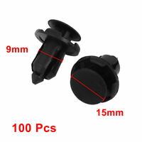 9mm Hole Plastic Rivet Car Door Trim Panel Retainer Fastener Black 100 Pcs