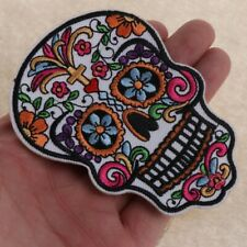 Floral Skull Embroidered Patch Iron on Sewing Applique Biker Patch Clothes Badge