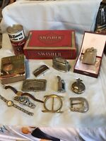Junk Drawer Lot Vintage Buckles,lighters,book,watches Etc