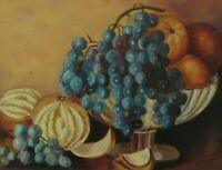 ANTIQUE FOLK ART OIL PAINTING ORIG FRUIT STILL LIFE COUNTRY PRIMITIVE VICTORIAN