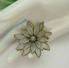 Vintage Crown Trifari Frosted Molded glass Layered flower Pin Brooch Enhancer