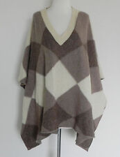 Boston Proper Sweater Cape/Poncho Beige/Tan Wool V-Neck Size XS/S (28x44)