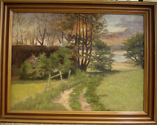 UNSIGNED! LANDSCAPE WITH LAKE AT SUNSET. NO RESERVE