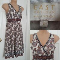 EAST ARTISAN WITH ANOKHI Indian Cotton Paisley Print Sundress Size 12 Ethnic