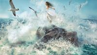 "oil painting handpainted on canvas ""beautiful girl,seagulls,sea wave""@N926"