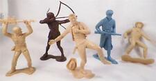 4 Vintage Marx Playset Figures American Indian Cowboys Russian Soldier & 1 Addl