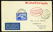 1930 ZEPPELIN FLIGHT AROUND SCHLESIEN, GERMANY W/ C38 TIED TO COVER  (ESP#2105)