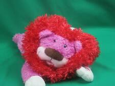 BIG HALLMARK PINK RED LION HEART VIBRATING PURRING LAUGHING LAYS DOWN PLUSH SOFT