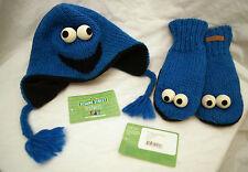 deLux Kids COOKIE MONSTER HAT + MITTENS SET knit costume LND Sesame Street delux