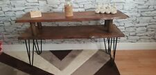 Vintage Retro TV Stand. Metal Hairpin Legs. Wayne edge solid Wood, Rustic, Unit,