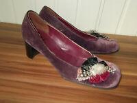 Chaussures ESCARPINS velours mauve ecologico HEYRAUD 38.5FR plumes rubans