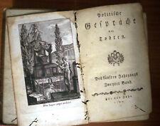 Published 1790 - Politische Gespräche der Todten - Written in Old German Text