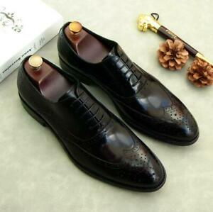 Mens Brogue Wing Tip Carved Oxfords Formal Real Leather Business Leisure Shoes L
