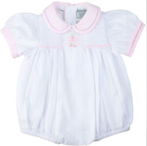 Feltman Brothers White & Pink Girls Bow Embroidered Bubble-Preemie