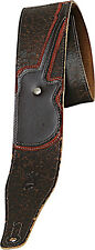 "LEVY'S M17GRD 2 1/2"" WIDE Cracked LEATHER GUITAR STRAP WITH Guitar Applique DBR"