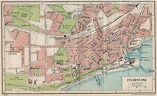 FOLKESTONE. Vintage town city map plan. Kent 1930 old vintage chart