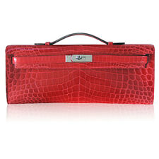 Hermes Kelly Cut Crocodile Shiny Porosus Bouganvillea Clutch Bag in Box