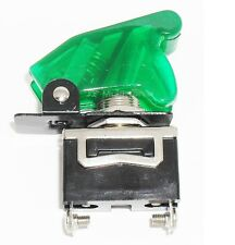 1 SPST On/Off Full Size Toggle Switch with TRANSPARENT GREEN Safety Cover