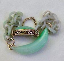 ANTIQUE CHINESE FINEST APPLE GREEN JADE 14K GOLD INTERLOCKING RINGS BRACELET