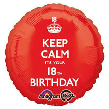 Amscan Keep Calm It's Your 18th Birthday Foil Balloon Hs40 Red