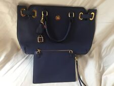 JOY Rich Leather Saffiano Satchel and Clutch with RFID Protection Navy