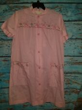 44f49cfa12 Lisanne Distinctive Loungewear House Coat Button Up Pink Gingham  Embroidered 17H