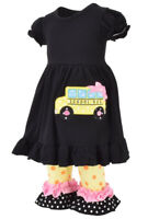 Girls Fashion Outfit Back to School Bus Boutique 2pc Toddler Kid Capri Pant Top