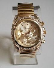 Geneva Women's Stretch Band Fashion  Gold Finish Stone Fashion Wrist Watch