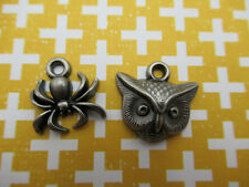Halloween Charms Spider & Owl Pendants Metal Ornaments Party Decorations 18 pcs.