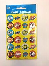 96 Comic Strip Super hero Stickers (4 Sheets) Party Favors Teacher Supply KaPow