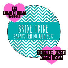Bride tribe personalised stickers zigzag 24 stickers hen do nautical