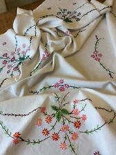 Large Vintage Hand Embroidered Linen Tablecloth Floral 4 Ft. 120cms. Square.