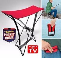 Pocket Chair Klappstuhl Hocker Angeln Wandern Konzert Camping Klapphocker rot