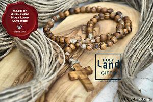 OLIVE WOOD rosary CATHOLIC wooden PRAYER JERUSALEM HOLY LAND JUTE BETHLEHEM