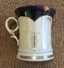 """Victorian Shaving Mug - """"Made in Germany"""" - White, Brown, Gold"""