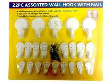 22 PC White Plastic Wall Hooks Nails And Screws Assorted Sizes Picture Hanging