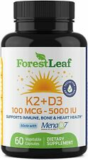 FOREST LEAF Vitamin K2 + D3 MK7 Supplement Immune Support Heart Health - 60 caps