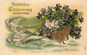 Geburtstag, Tauben, Blumen, Prägekarte, 1908 in Oschatz versandt