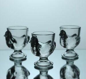 Set of 3 Chicken Hen Shaped Glass Breakfast Egg Cups Holder Novelty Gift Idea