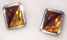 Baltic Amber Earrings Sterling Silver Cognac Amber and Honey Amber Triangles 8g
