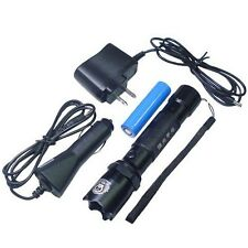 Waterproof CREE Q5 Zoomable Police Rechargeable 300Lm LED Flashlight Torch 18650