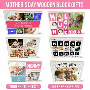 Personalised Wooden Photo Block Mother's Day Mum Birthday Granny Mummy For Gifts