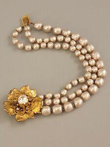 Signed MIRIAM HASKELL Vintage Bracelet 3 Strands Baroque Pearls Clear Crystal
