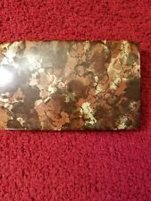Vintage Mele Hard Shell Clam Travel Earring Ring Case Jewelry Box Brown Camo