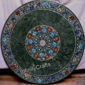 36 x 36 Inches Round Marble Inlay Center Table Top Green Conference Table