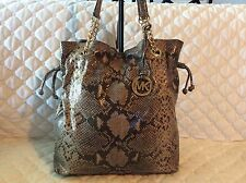 Michael Kors Snake Print Chain Hobo Tote Drawstring Handbag