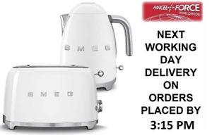 SMEG Retro White Kettle & 2 Slice Toaster - KLF03WHUK & TSF01WHUK +2 Yr Warranty