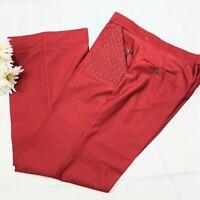 Vintage Rare 70s Red Basket Weave Pocket Pants Size 38