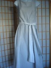 NWT NY&Co EVA MENDES WHITE/ BLUE STRIPED FIT & FLARE RIBBON BELT DRESS Size 4/S